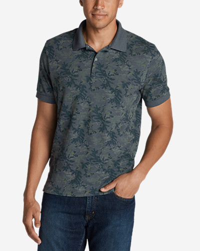 Collared Polo Shirts for Men: Men's Field Short-Sleeve Slim Polo Shirt - Print