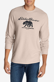 Beige Dress Shirts for Men: Men's Graphic Thermal Crew - Bear