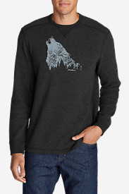 Comfortable Shirts for Men: Men's Graphic Thermal Crew - Howling Wolf