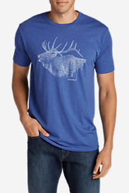 Blue T-Shirts for Men: Men's Graphic T-Shirt - Bugling Elk