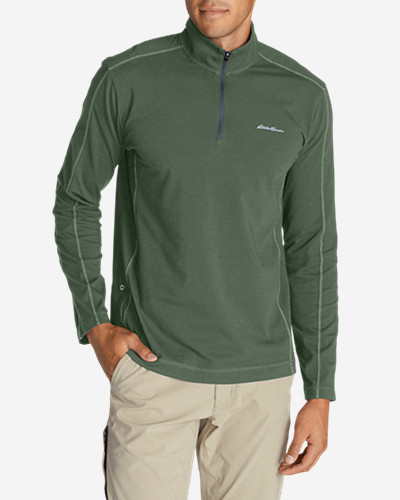 Green Shirts for Men: Men's Lookout 1/4-Zip Mockneck