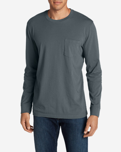 Big & Tall Shirts for Men: Men's Legend Wash Long-Sleeve Pocket T-Shirt - Classic Fit
