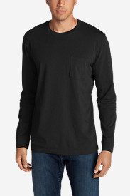 Black Shirts for Men: Men's Legend Wash Long-Sleeve Pocket T-Shirt - Classic Fit