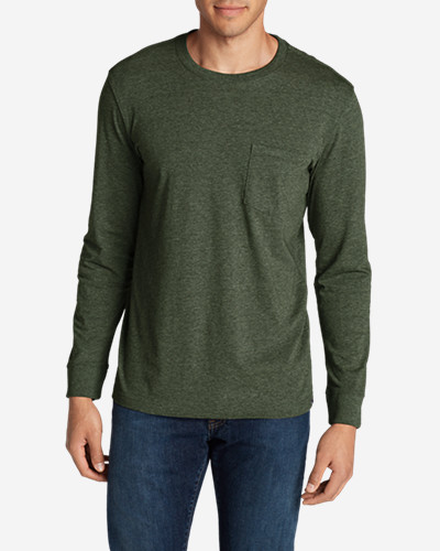 Green Shirts for Men: Men's Legend Wash Long-Sleeve Pocket T-Shirt - Classic Fit