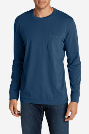 Blue Shirts for Men: Men's Legend Wash Long-Sleeve Pocket T-Shirt - Classic Fit