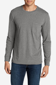 Gray Shirts for Men: Men's Legend Wash Long-Sleeve Pocket T-Shirt - Classic Fit