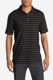 Black Shirts for Men: Men's Voyager II Performance Short-Sleeve Polo Shirt - Stripe