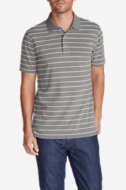 Gray Polo Shirts for Men: Men's Voyager II Performance Short-Sleeve Polo Shirt - Stripe