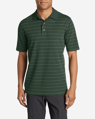 Green Shirts for Men: Men's Voyager II Performance Short-Sleeve Polo Shirt - Stripe