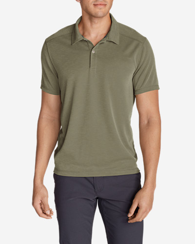 Green Shirts for Men: Men's Contour Performance Slub Polo Shirt