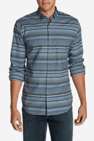 Blue Shirts for Men: Men's Classic Signature Twill Long-Sleeve Shirt - Pattern