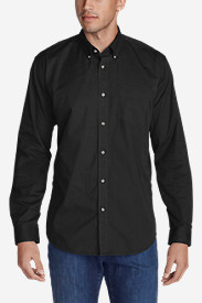Black Shirts for Men: Men's Signature Twill Classic Fit Long-Sleeve Shirt - Solid