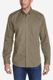 Beige Dress Shirts for Men: Men's Signature Twill Classic Fit Long-Sleeve Shirt - Solid