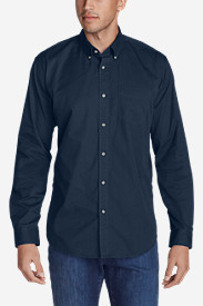 Blue Shirts for Men: Men's Signature Twill Classic Fit Long-Sleeve Shirt - Solid