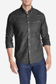 Black Shirts for Men: Men's Grifton Long-Sleeve Shirt - Solid