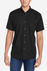 Black Shirts for Men: Men's Signature Twill Classic Fit Short-Sleeve Shirt - Solid