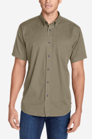 Beige Dress Shirts for Men: Men's Signature Twill Classic Fit Short-Sleeve Shirt - Solid