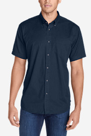 Blue Shirts for Men: Men's Signature Twill Classic Fit Short-Sleeve Shirt - Solid