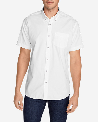 Big & Tall Shirts for Men: Men's Signature Twill Classic Fit Short-Sleeve Shirt - Solid