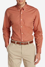 Orange Shirts for Men: Men's Wrinkle-Free Pinpoint Oxford Classic Fit Long-Sleeve Shirt - Seasonal Pattern