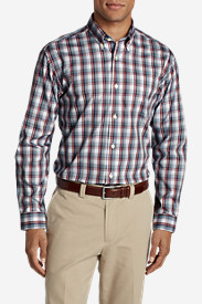Blue Shirts for Men: Men's Wrinkle-Free Pinpoint Oxford Classic Fit Long-Sleeve Shirt - Seasonal Pattern