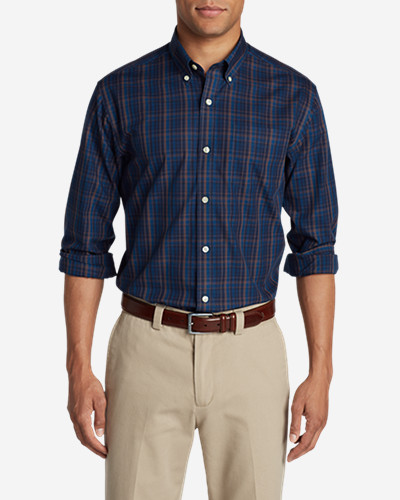 Big & Tall Shirts for Men: Men's Wrinkle-Free Pinpoint Oxford Classic Fit Long-Sleeve Shirt - Seasonal Pattern