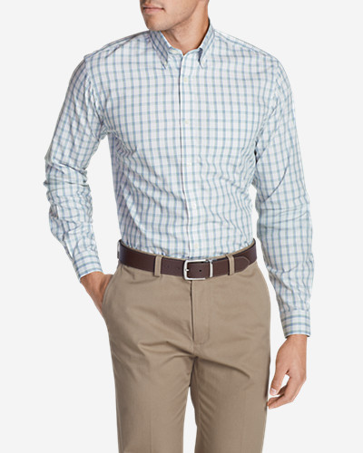 Green Shirts for Men: Men's Wrinkle-Free Pinpoint Oxford Classic Fit Long-Sleeve Shirt - Seasonal Pattern