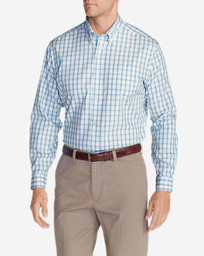 Green Shirts for Men: Men's Wrinkle-Free Pinpoint Oxford Relaxed Fit Long-Sleeve Shirt - Seasonal Pattern