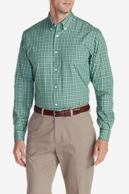 Long Sleeve Shirts for Men: Men's Wrinkle-Free Pinpoint Oxford Relaxed Fit Long-Sleeve Shirt - Seasonal Pattern