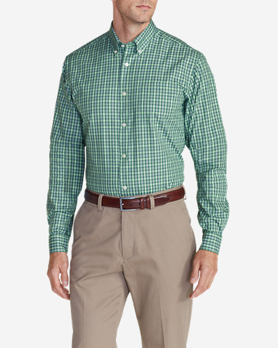 Big & Tall Shirts for Men: Men's Wrinkle-Free Pinpoint Oxford Relaxed Fit Long-Sleeve Shirt - Seasonal Pattern