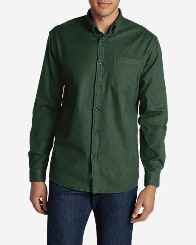 Green Shirts for Men: Men's Eddie's Favorite Flannel Classic Fit Shirt - Solid