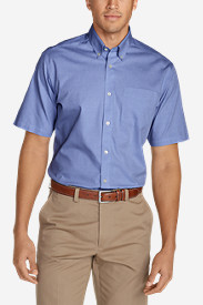 Men's Wrinkle-Free Classic Pinpoint Oxford Short-Sleeve Shirt - Solid