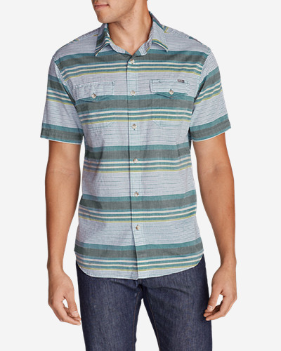 Green Shirts for Men: Men's Vashon Short-Sleeve Shirt - Stripe
