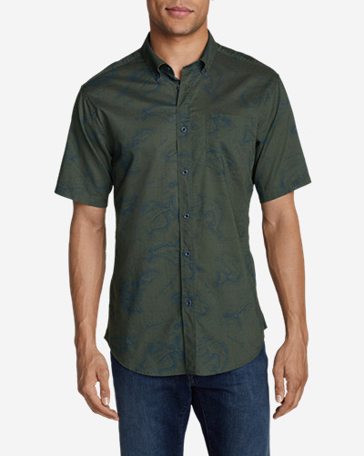 Green Shirts for Men: Men's Vashon Short-Sleeve Shirt - Print