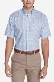 Blue Shirts for Men: Men's Wrinkle-Free Relaxed Fit Short-Sleeve Pinpoint Oxford Shirt - Blues