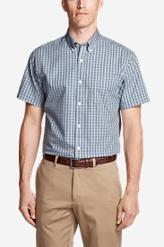 Men's Wrinkle-Free Relaxed Fit Short-Sleeve Pinpoint Oxford Shirt - Blues