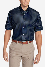 Comfortable Shirts for Men: Men's Wrinkle-Free Relaxed Fit Short-Sleeve Pinpoint Oxford Shirt - Blues
