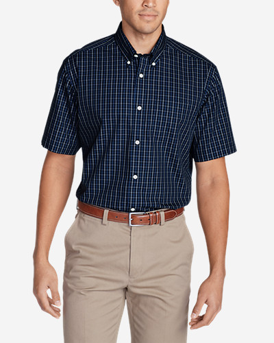 Big & Tall Shirts for Men: Men's Wrinkle-Free Relaxed Fit Short-Sleeve Pinpoint Oxford Shirt - Blues
