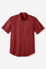 Comfortable Shirts for Men: Men's Relaxed Fit Signature Twill Shirt - Solid Short Sleeve