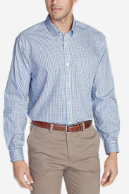Blue Shirts for Men: Men's Wrinkle-Free Relaxed Fit Pinpoint Oxford Shirt - Blues