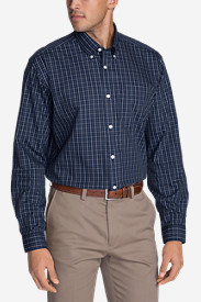 Big & Tall Shirts for Men: Men's Wrinkle-Free Relaxed Fit Pinpoint Oxford Shirt - Blues