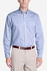 Blue Shirts for Men: Men's Wrinkle-Free Relaxed Fit Pinpoint Oxford Shirt - Solid Long-Sleeve