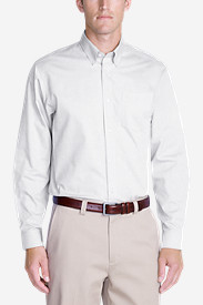 Long Sleeve Shirts for Men: Men's Wrinkle-Free Relaxed Fit Pinpoint Oxford Shirt - Solid Long-Sleeve