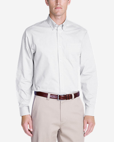 Big & Tall Shirts for Men: Men's Wrinkle-Free Relaxed Fit Pinpoint Oxford Shirt - Solid Long-Sleeve