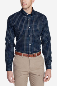 Long Sleeve Shirts for Men: Men's Wrinkle-Free Slim Fit Pinpoint Oxford Shirt - Blues