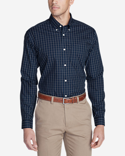 Big & Tall Shirts for Men: Men's Wrinkle-Free Slim Fit Pinpoint Oxford Shirt - Blues
