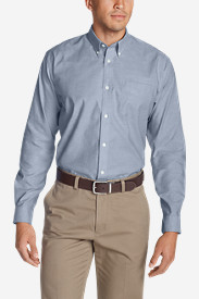 Blue Shirts for Men: Men's Wrinkle-Free Relaxed Fit Oxford Cloth Shirt - Solid