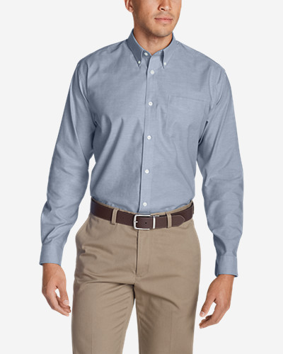 Big & Tall Shirts for Men: Men's Wrinkle-Free Relaxed Fit Oxford Cloth Shirt - Solid