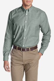 Green Dress Shirts for Men: Men's Wrinkle-Free Relaxed Fit Oxford Cloth Shirt - Solid