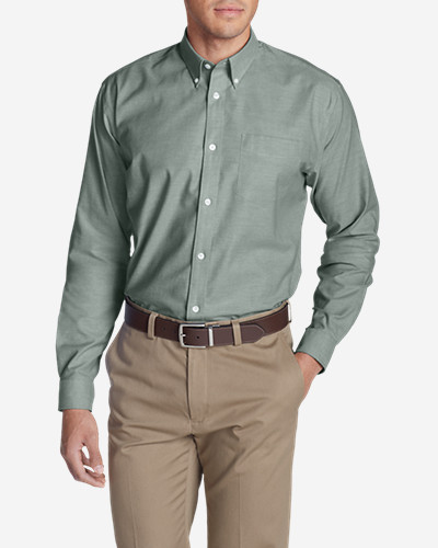 Green Shirts for Men: Men's Wrinkle-Free Relaxed Fit Oxford Cloth Shirt - Solid